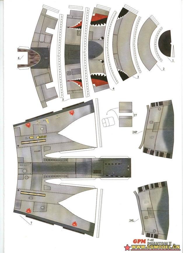 [纸仙儿 纸模型]飞机图纸下载——f-4e phantom