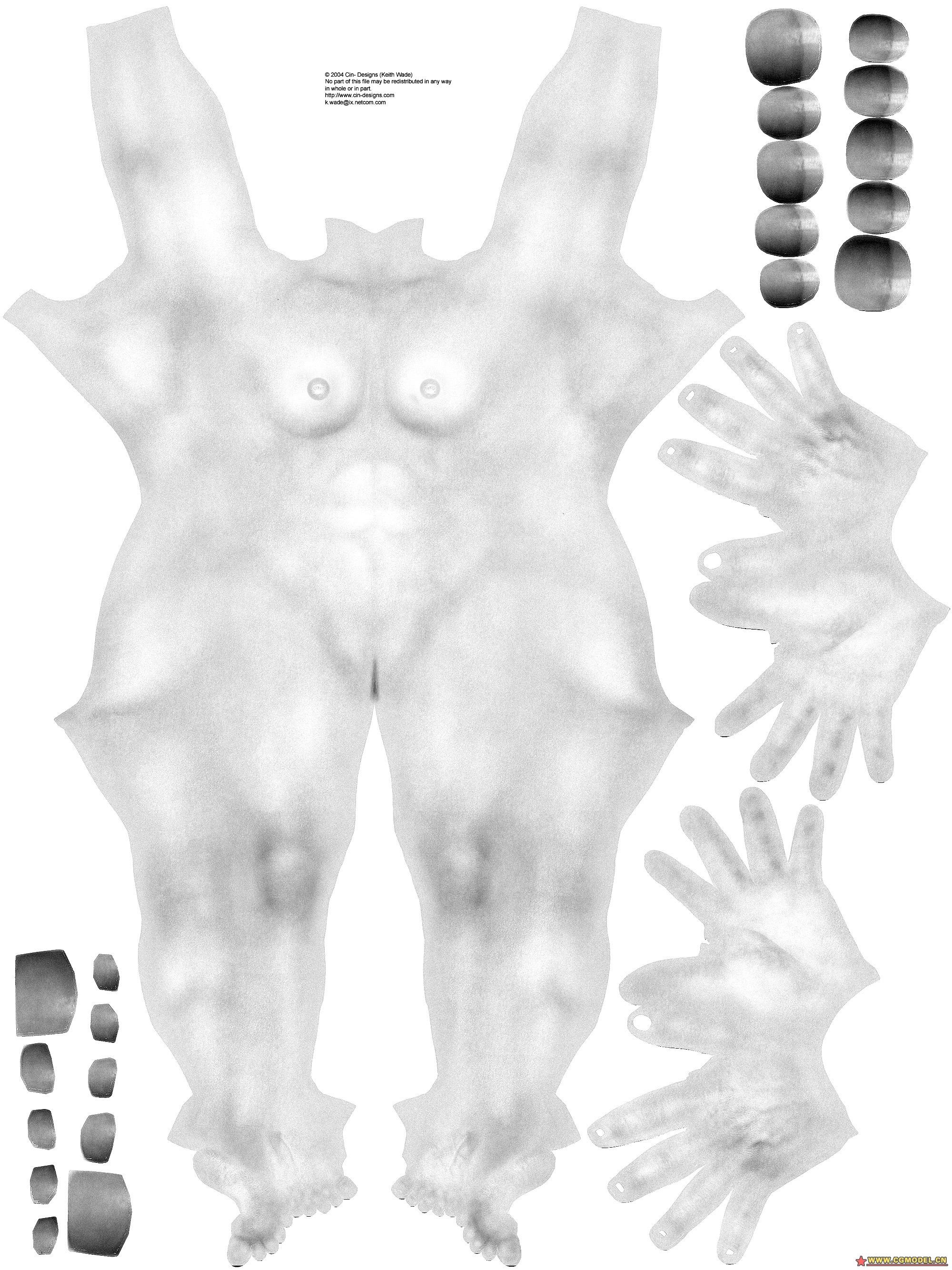 分好uv的maya材质人体贴图