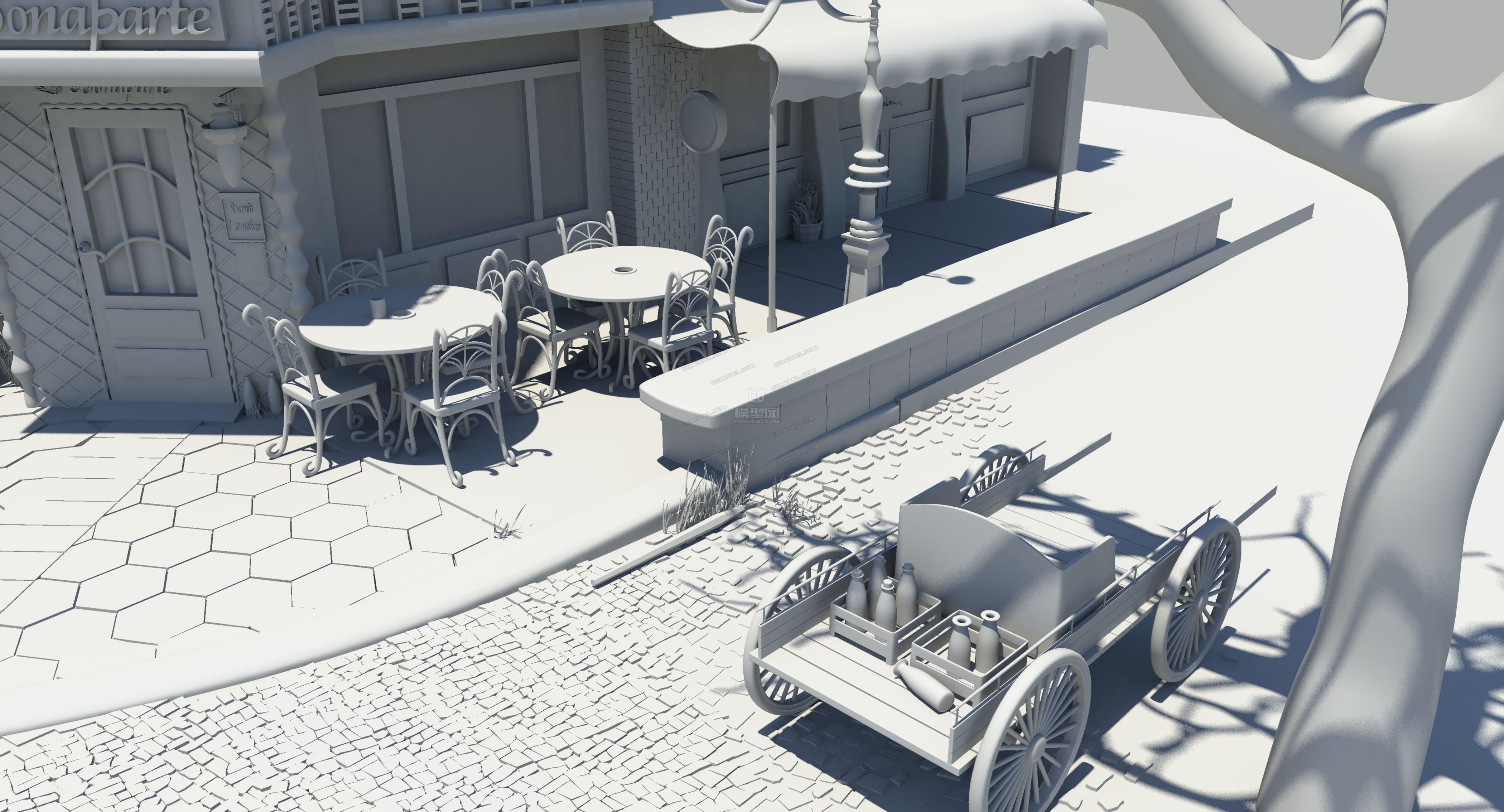 超写实场景模型 欧美风格 maya模型下载图片