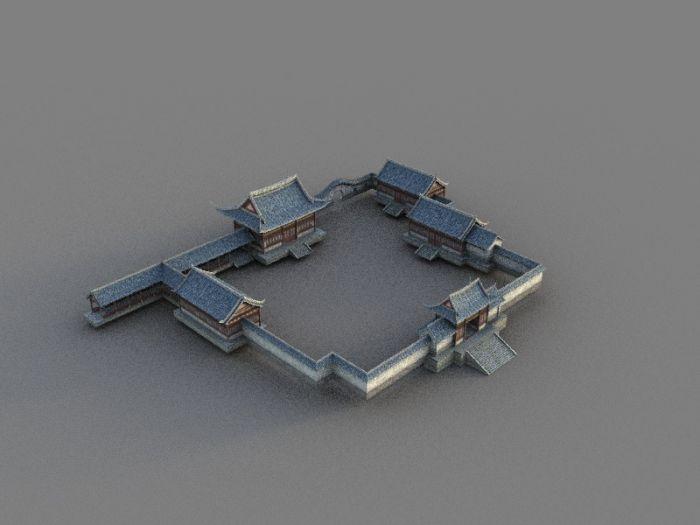 3d古建筑场景,游戏用简体模型,3dsmax2011场景文件