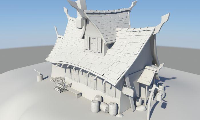 有树有房子的maya卡通小场景模型下载!图片