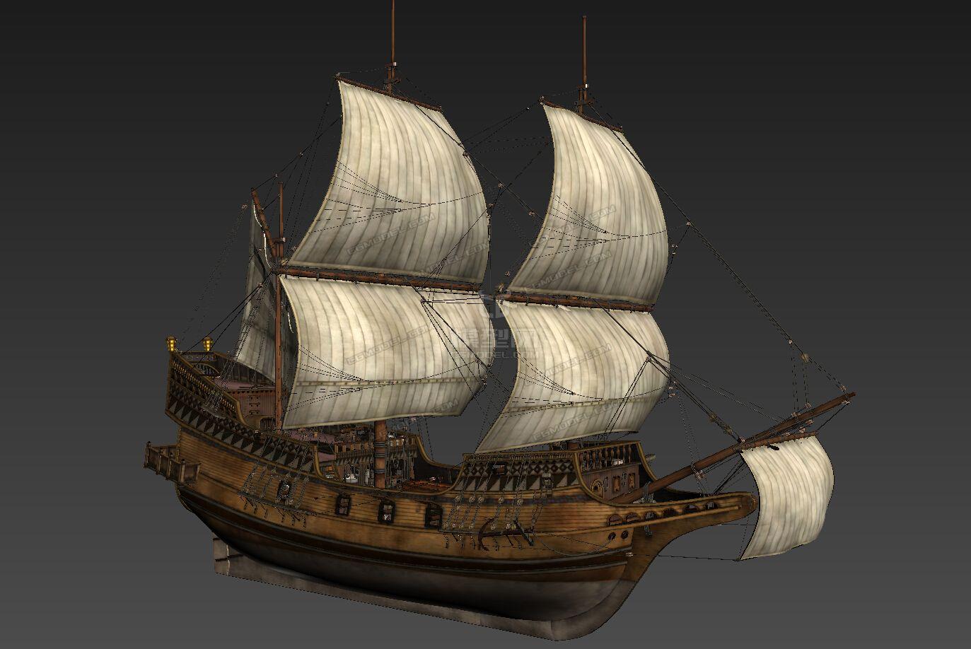 影视级帆船 古欧洲帆船 古代战船 复古帆船图片