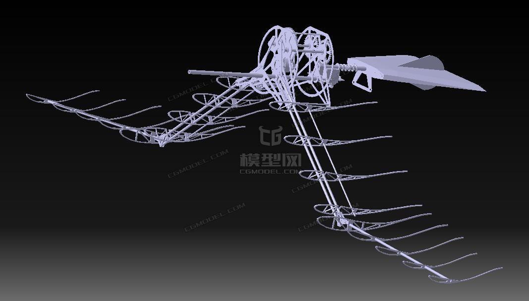 仿鸟扑翼机格式三维设计图纸(STP图纸)-CG模横流冷却塔结构图片