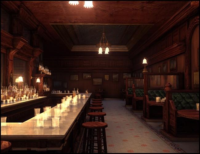 精致的复古风格的欧式酒吧,餐馆,酒馆,中世纪西部酒馆