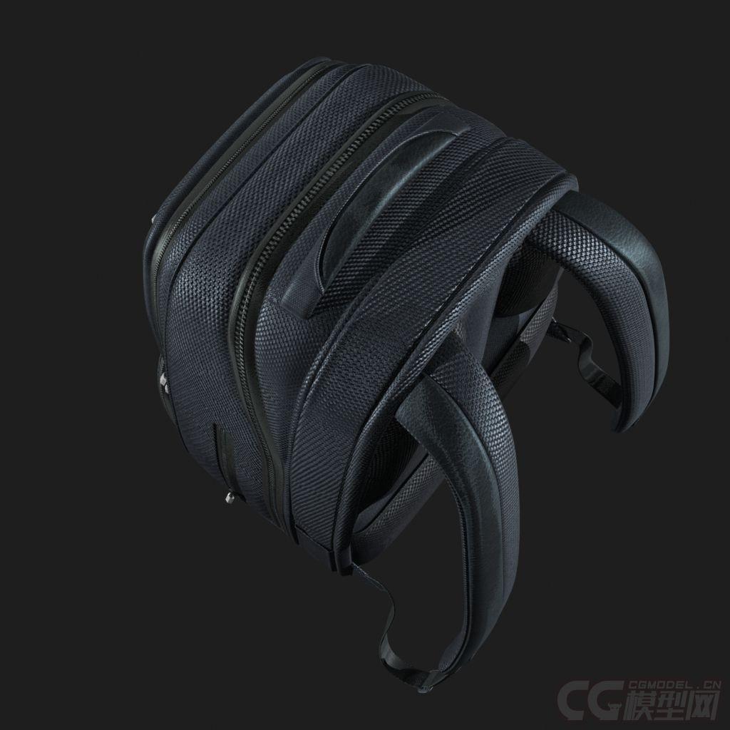 写实双肩背包书包带内部结构,四边面-CG模型