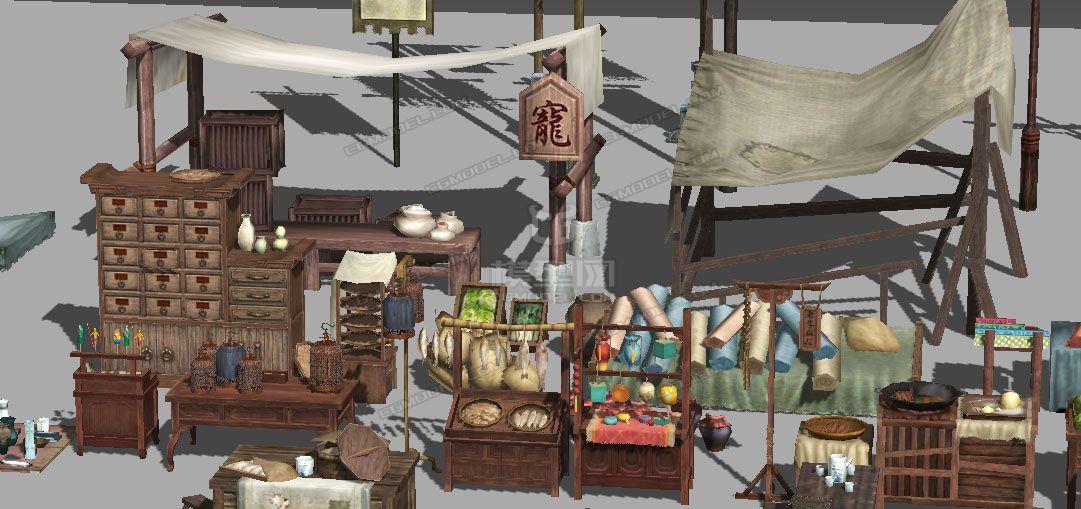 古代肉肉_中国古代集市小吃摊、水果摊、肉摊、旗子、灯笼、鸟笼、磨盘 ...