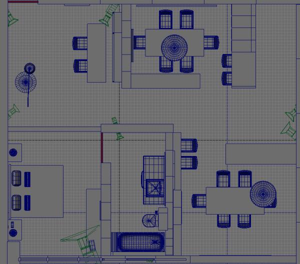 自己用maya制作的房间内部场景的模型(粗模)