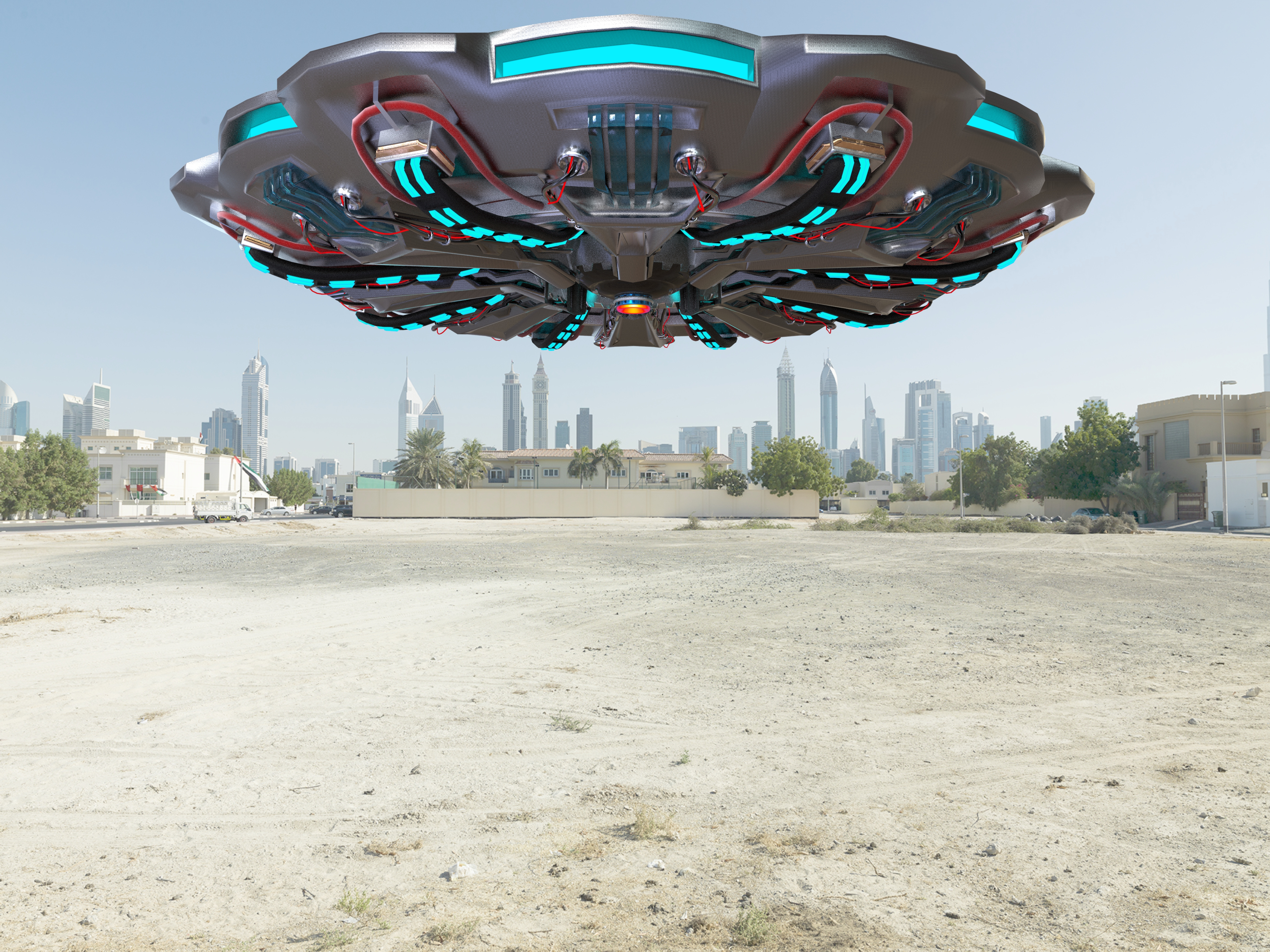 科幻飞碟渲染模型