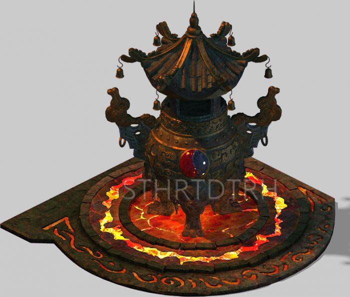 高精度的高档精细火炉,精致道教香炉炼丹炉3D平房三合院设计图图片