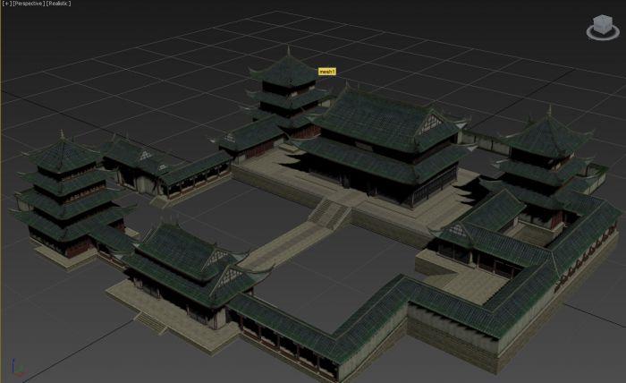 3d古建筑场景,游戏用简体模型,fbx dae格式各一个