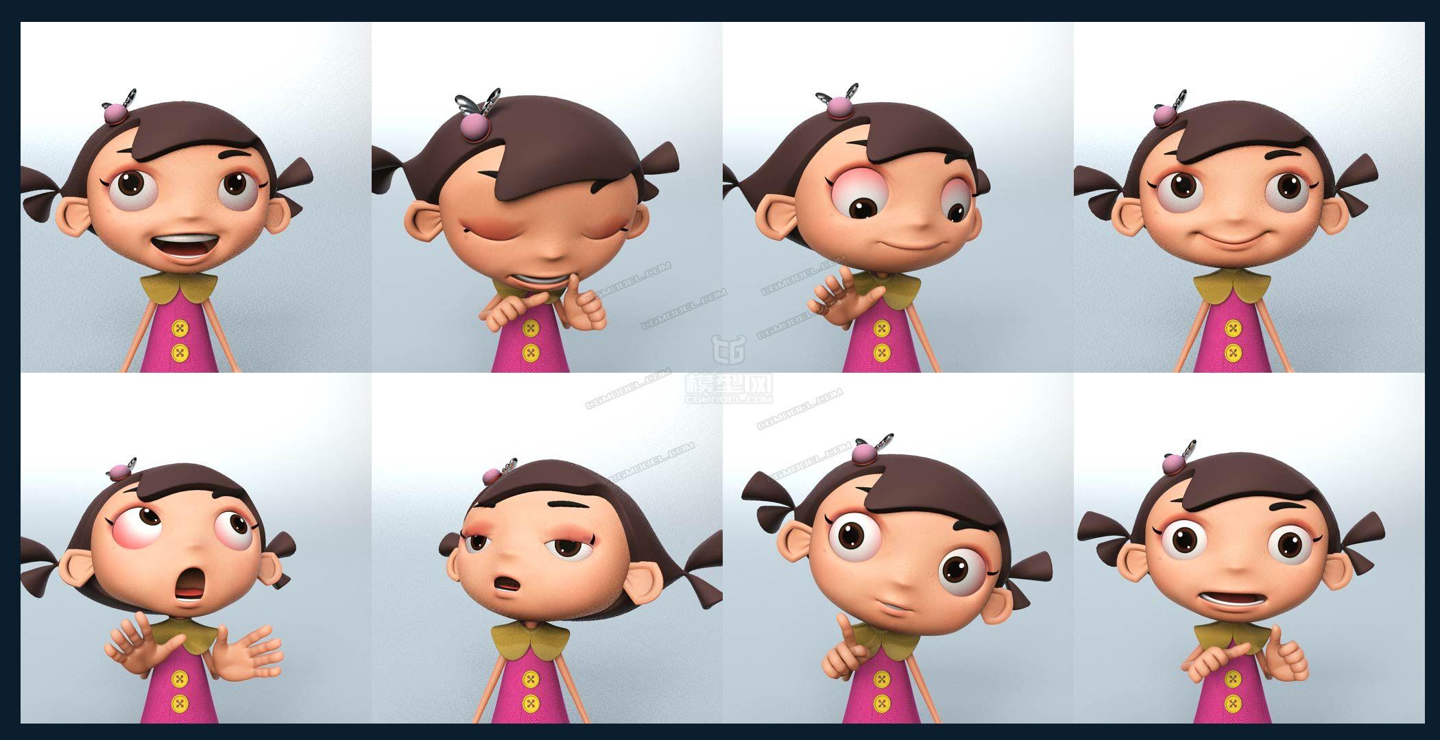 卡通女孩 裙子写实人物可爱 绑定表情 美女小学生 妹妹 姐姐马尾辫gir