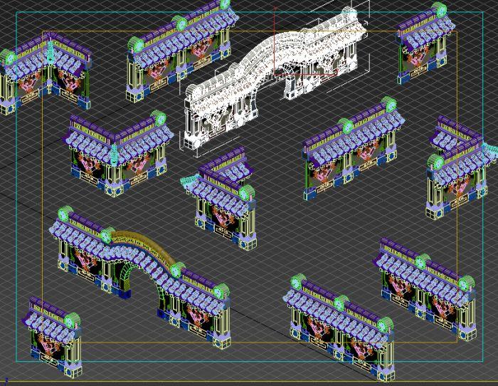 各种古典中国风瓦片围墙模型下载