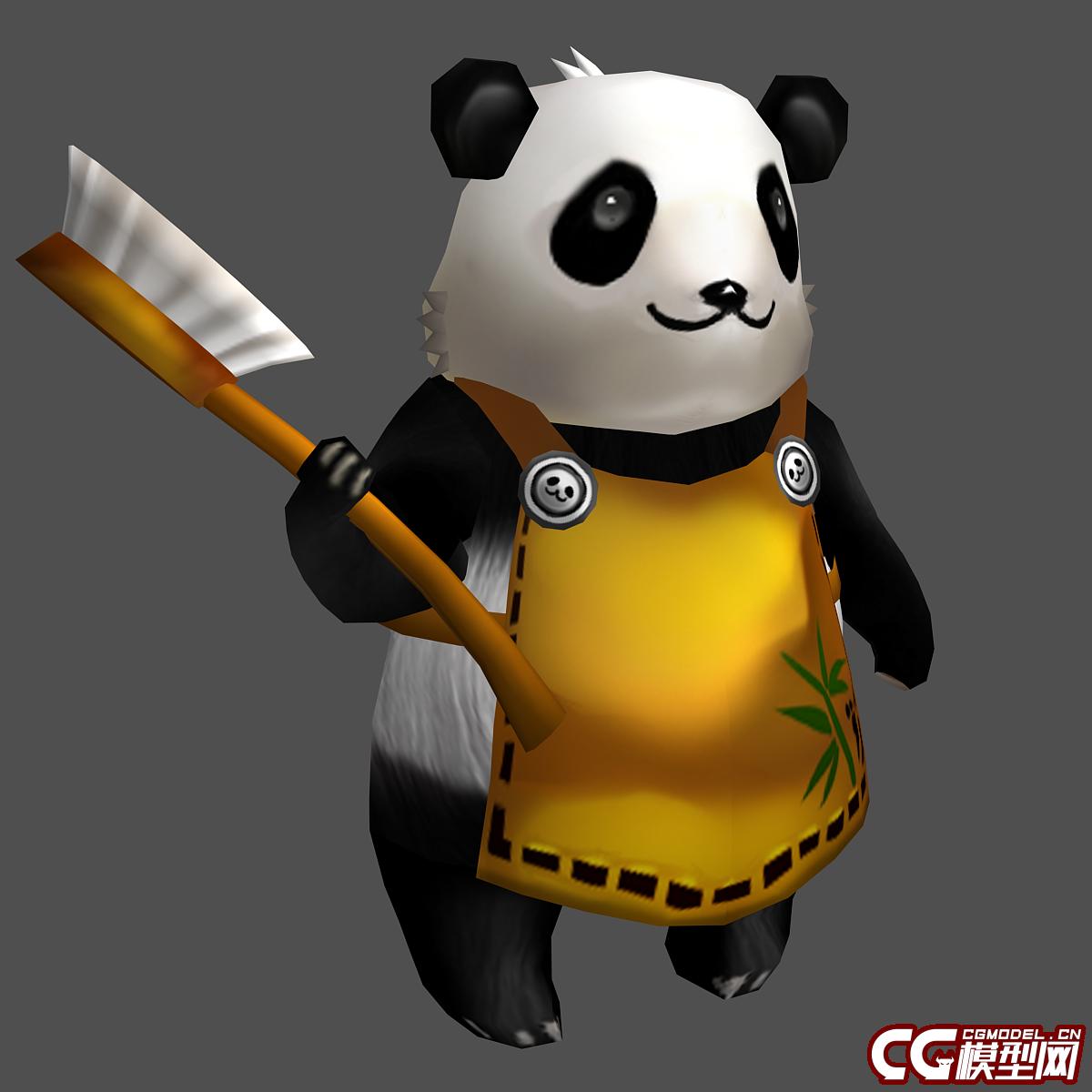 可爱的卡通q版熊猫,大熊猫,小熊猫,有一个待机动画,带骨骼蒙皮