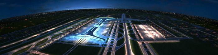 首都国际机场飞机场真实t3航站楼 跑道夜景动画场景 飞机有动画