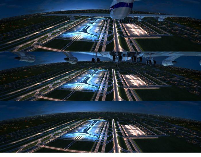 首都国际机场飞机场真实t3航站楼 跑道夜景动画场景 飞机有动画图片