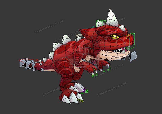卡通Q版红暴龙霸王龙小恐龙带绑定有动画-CG模型网(cgmodel)-让设计更有价值!