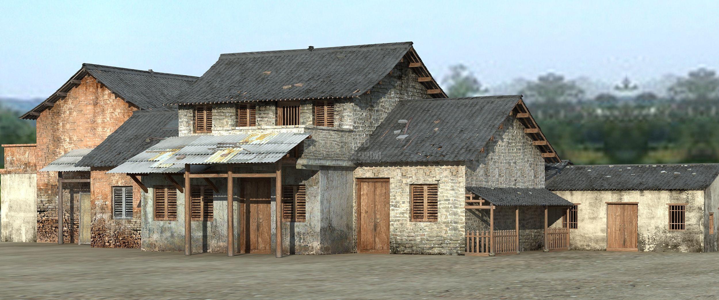 房子-民房-破舊房子-磚瓦-農村-村莊-部落-村寨-瓦