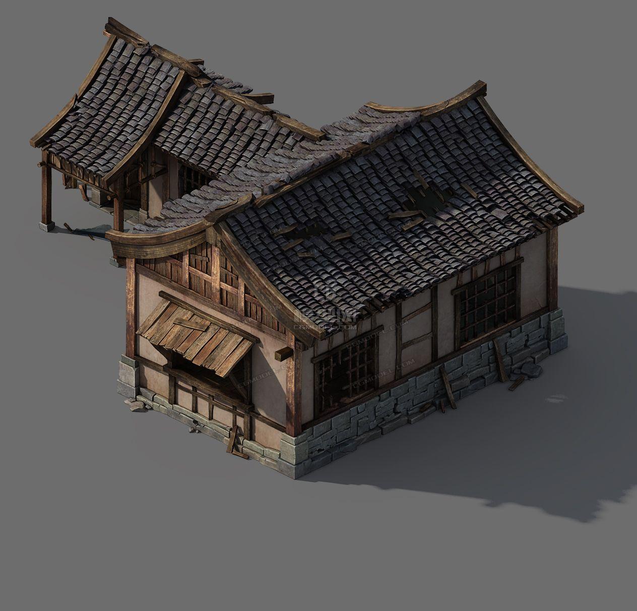 古代民居,写实瓦房,后院,破房子图片