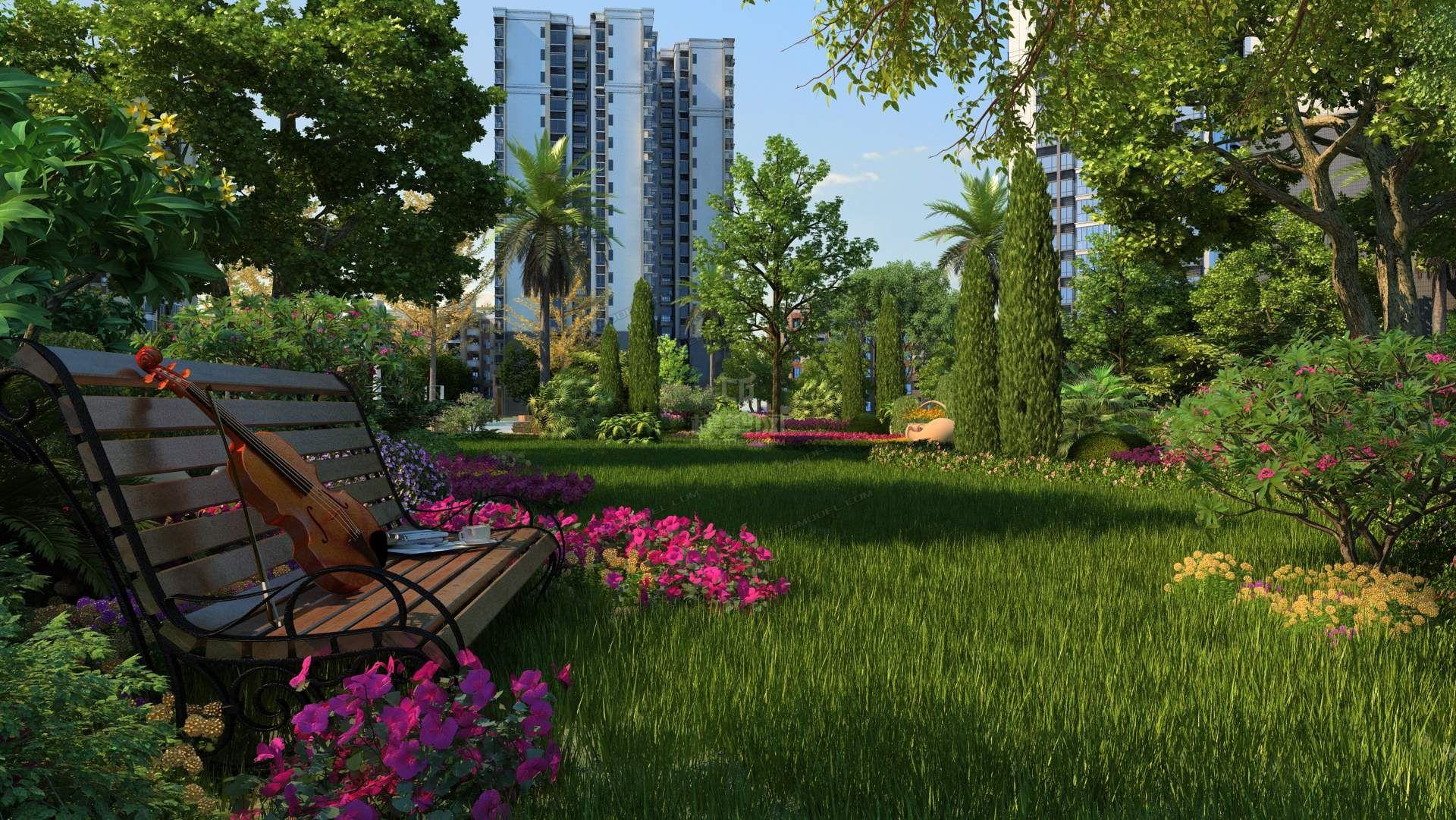 精美小区园林景观 意境场景 草坪-自然场景-场景-素材
