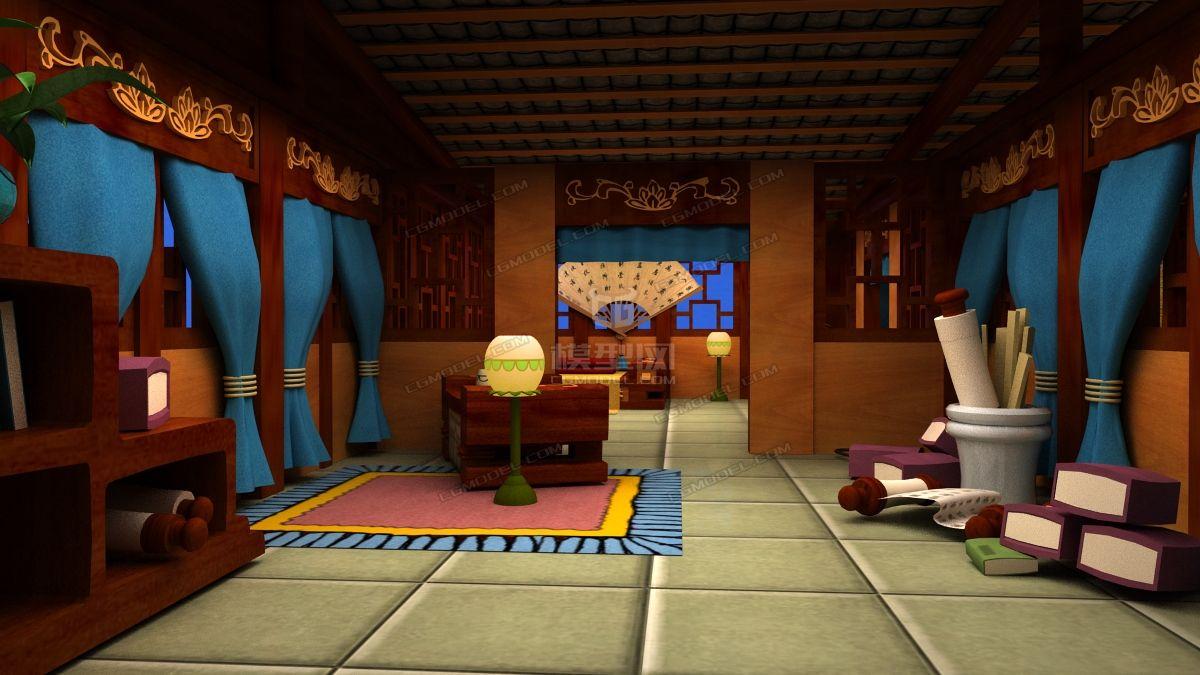 q版卡通古代房间室内动画场景