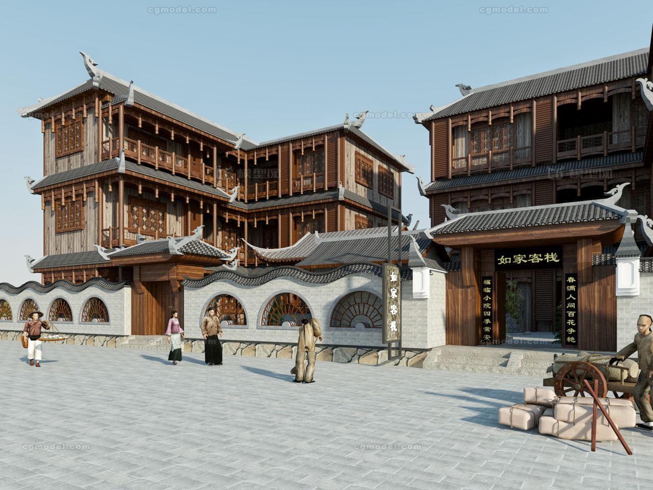 客栈 古代客栈 古代建筑 中式庭院 篱笆 太湖石 荷花图片