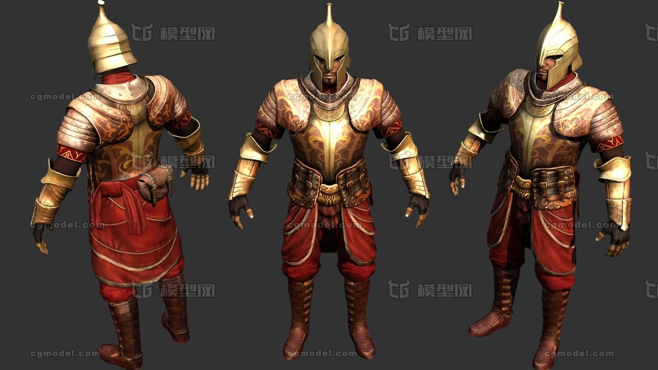 欧洲中世纪重甲士兵骑士指环王精灵风格盔甲黄金甲板甲图片