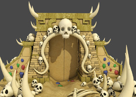 骷髅恶魔沙漠大门宝藏之门墓穴骨架洞穴藏宝洞濒海战斗舰设计图图片