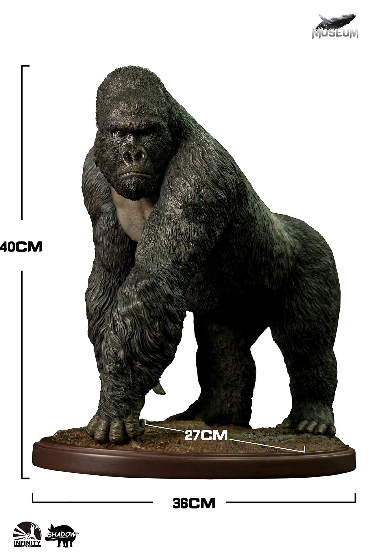 我的世界小雕像_开天工作室黑商会【博物系列】第四弹:1/4 山地大猩猩雕像-CG ...