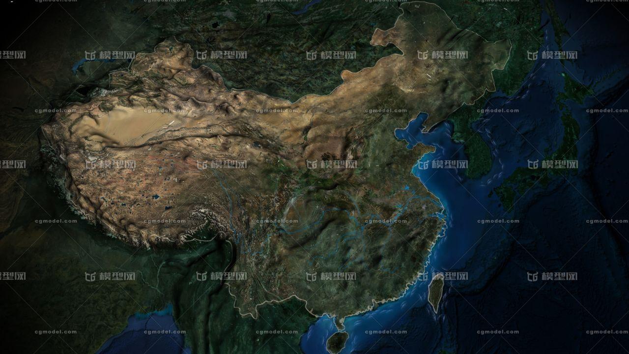 3D中国版图,15000的贴图清晰度,动态海浪