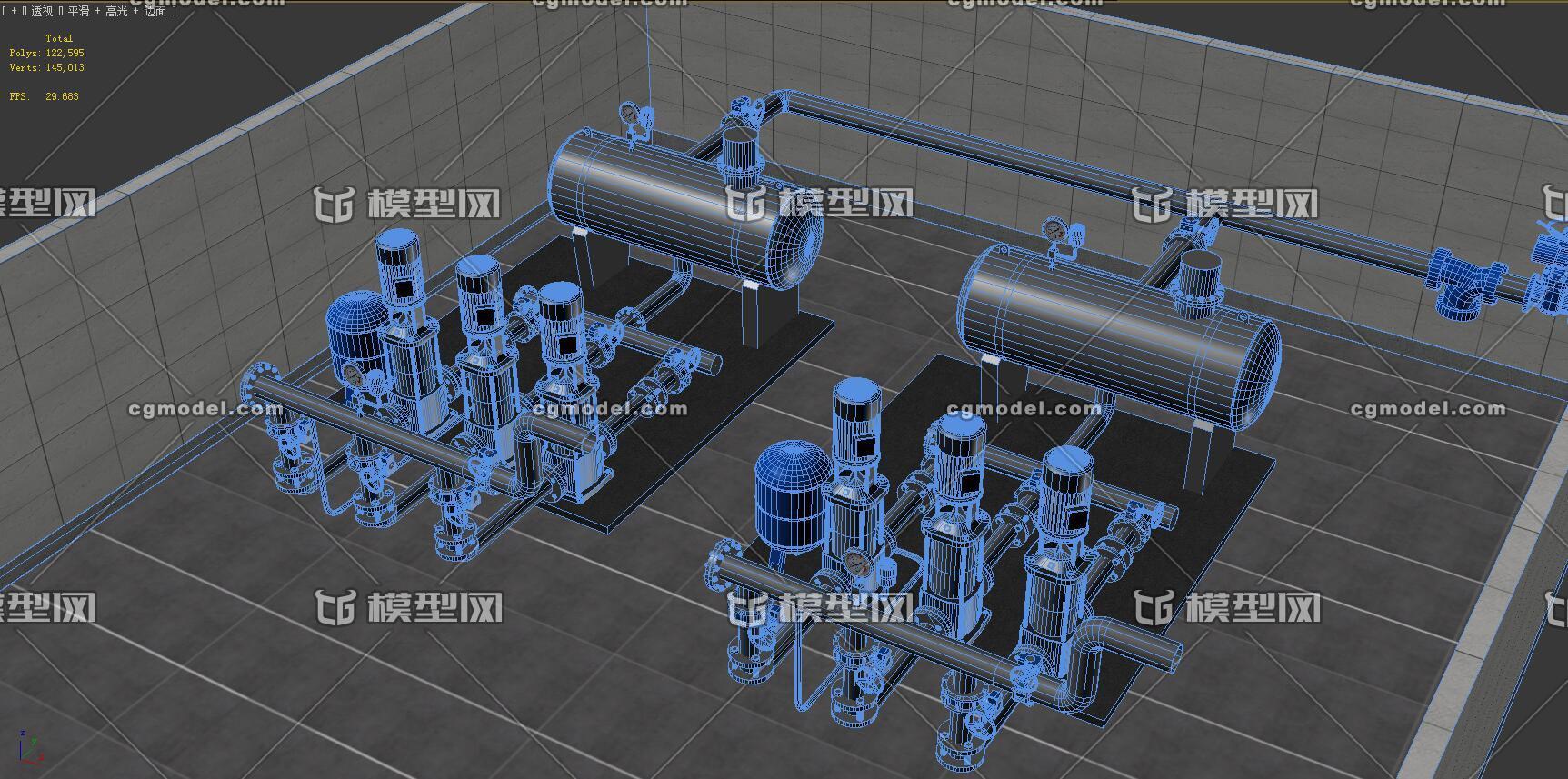 给水泵站设计_供水泵站泵房-CG模型网(cgmodel)-让设计更有价值!