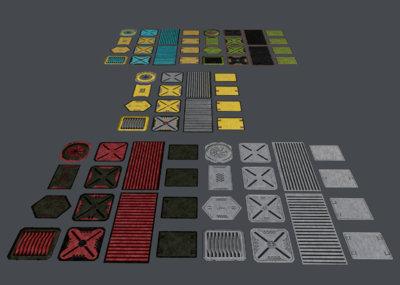 5种风格的科幻面板  scifi 科幻场景部件 通道按钮  2048贴图  控制