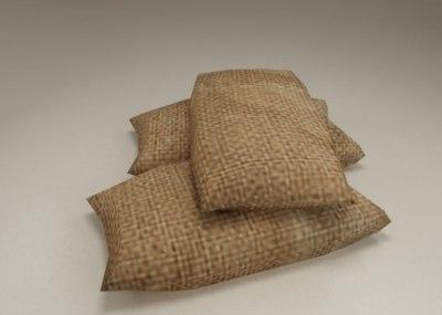 码头沙袋 沙包 抗洪沙袋 障碍物 麻袋 米袋 仓库储存物 多个格式几乎覆盖所有3D软件