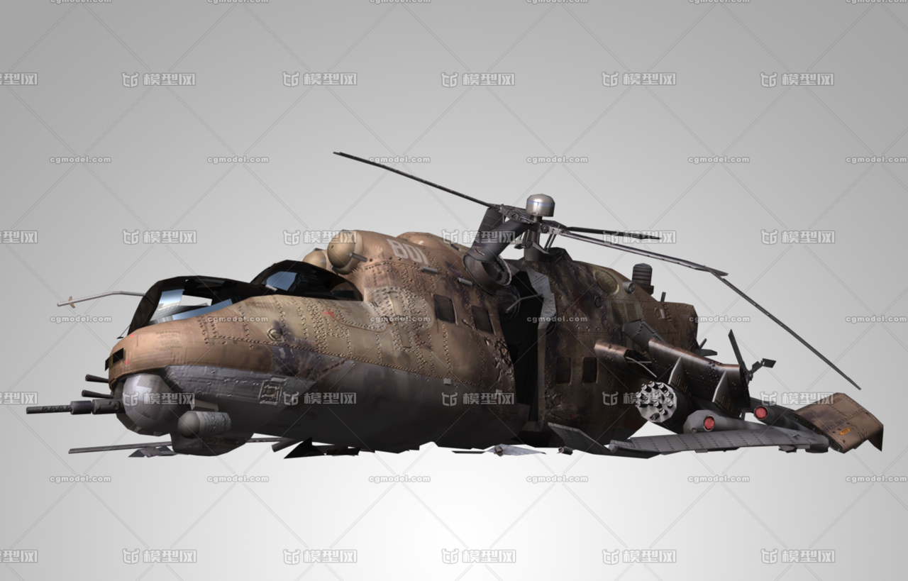 雌鹿直升机_直升机 坠毁直升机 坠毁 Mi-24雌鹿直升机 坠毁飞机-CG模型网 ...