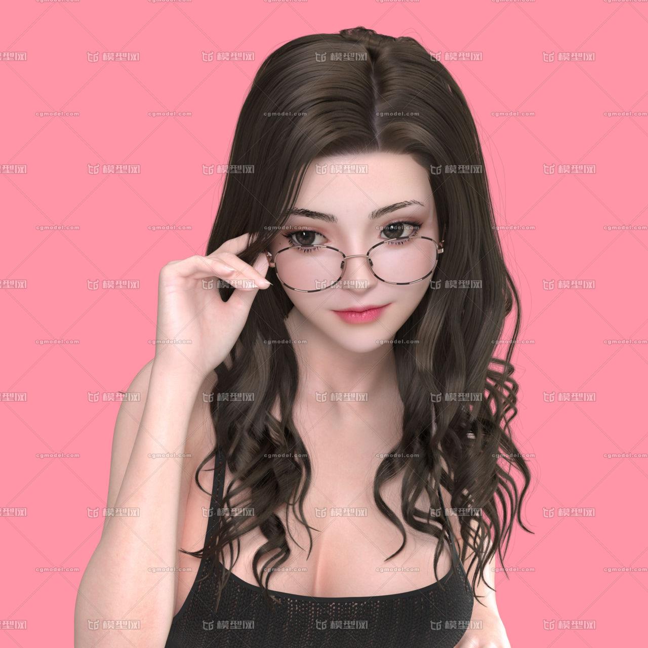 一个美型女性 戴眼镜的长发美女