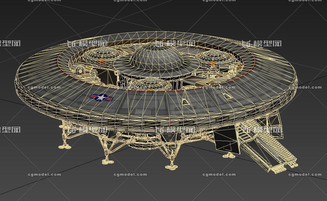 高质量科幻飞碟 次世代 ufo 2k 科幻飞船 带起落架绑定