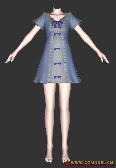 箱娘下载_边连衣裙17,3D箱娘服装-国际游戏资源整理--cgwt-CG模型网