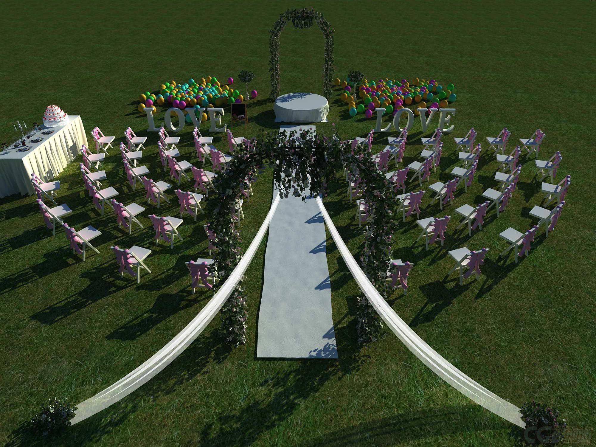 室外婚礼场景布置_室外婚礼场景布置-自然场景-场景-10963204-CG模型网