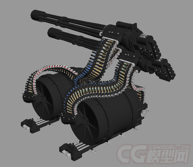 加特林多管机关炮_复仇者GAU-8反坦克机炮机枪重武器MAX OBJ模型-火炮器械-武器 ...