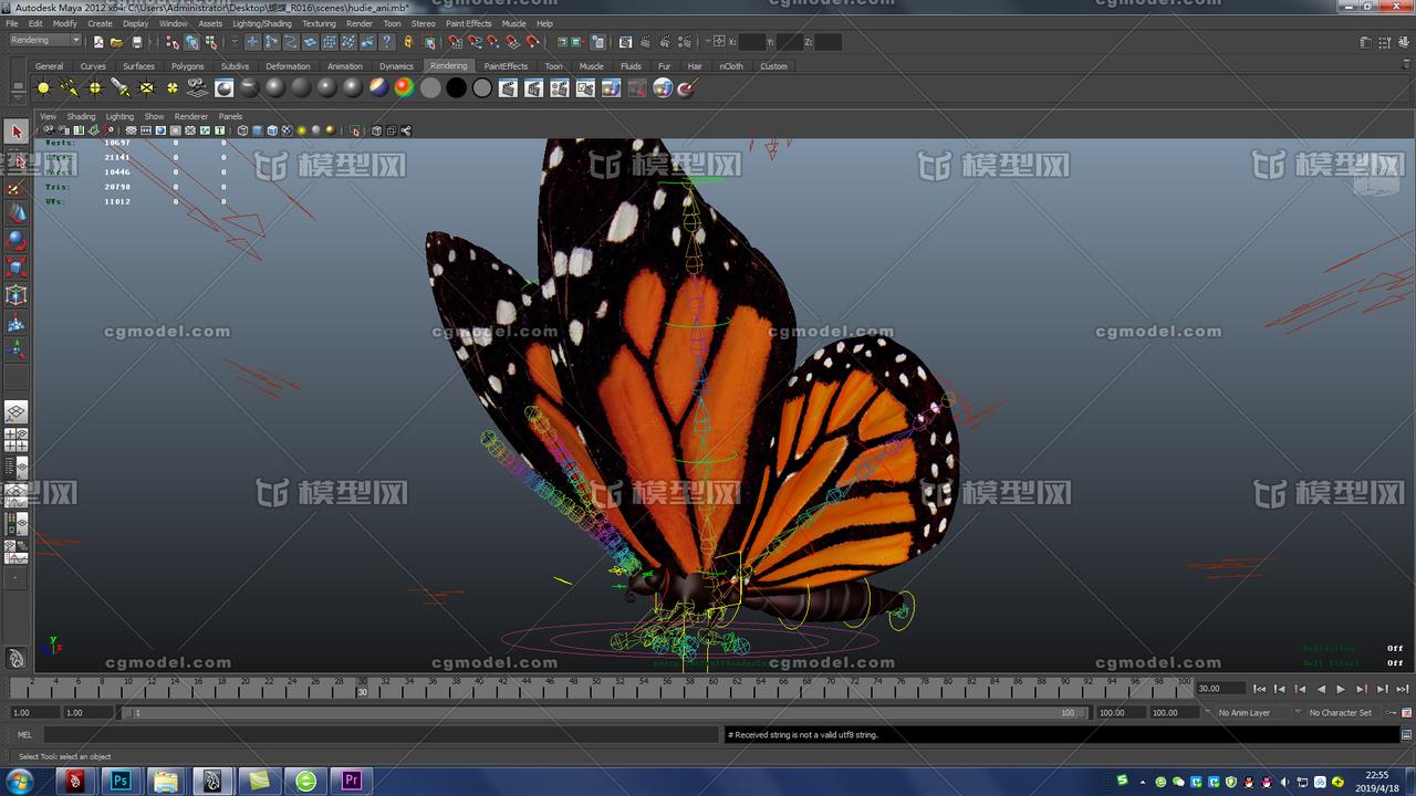 7 5 蝴蝶群飞动画_maya模型 动物模型 MAYA动画 蝴蝶动画 材质 贴图绑定 MAYA飞虫 昆虫 ...