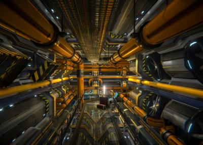 科幻高科技桌面_PBR 次世代 科幻场景 科幻发电机 战舰发电机 场景配件 能量槽 ...