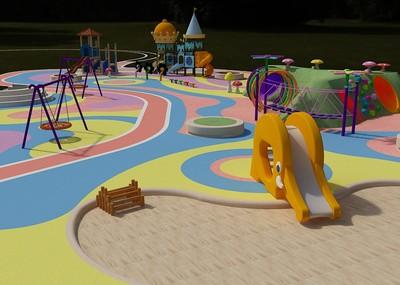 儿童游乐场经营范围_儿童 游乐园 游乐场 广场 活动区 -现代场景-场景-100860001-CG模型网